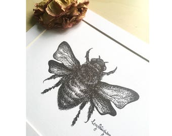 Bee Dotwork Illustration Fine Art Print - Pen and Ink Pointillism, Insect Traditional Art, Wildlife and Nature Drawing Design