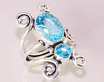 621 Blue Topaz Beautiful Handmade Design .925 Sterling Silver Plated Jewelry Rings