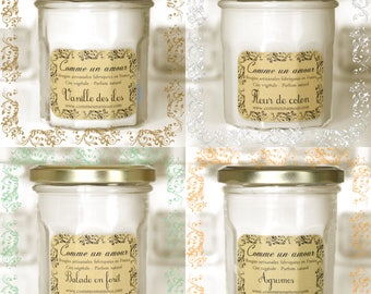 Set of 4 handmade scented candles