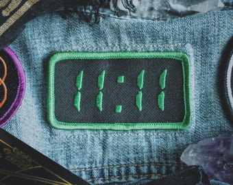 "11:11 Synchronicity Patch - Metaphysical Fashion Accessory - 3"" Iron On Embroidered Patch - Digital Clock Green - Awakening Code Numerology"