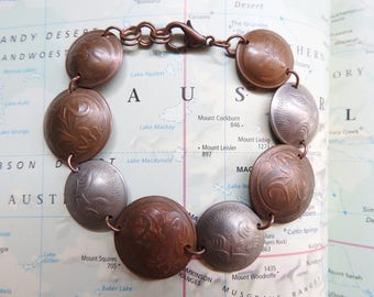 Australia bicolor coin bracelet - made of original coins - down under - island gift