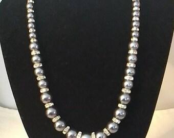 Gun Metal Gray Classy Beaded Necklace