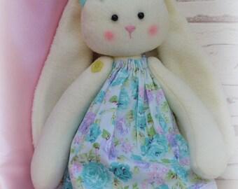 Rag Bunn  Cristmas Bunny dress Bunny handmade Fleece rabbit Bunny gift Rabbit Bunny soft cloth