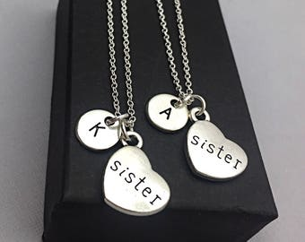 Sister Charm Set of 2, Sister Necklace Set Sister Jewelry, Matching Sister Necklace, Custom Sister Gift, Personalized, Monogram,sister gifts