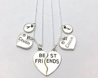 Gift Cousin necklace set of 2 best friend necklaces for 2 friendship jewelry distance friends 2 bff necklaces gift for best friend Gifts