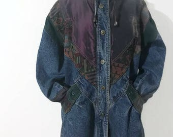 Denim Jacket with Patches  Slouchy Jean Jacket Fabric Patches  Coat Baggy Winter Jacket Vintage Women's Size Medium