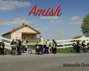 PA Amish School Children Lancaster County PA Postcard