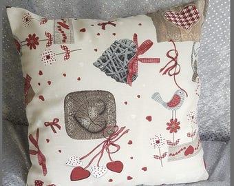 """Pillow cover """"birds hearts"""""""