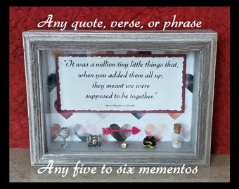 Valentine's Day Gift for Her-Valentine's Gift for Wife-Anniversary-Custom Shadow Box-Personalized Anniversary Memento-Wedding Keepsake
