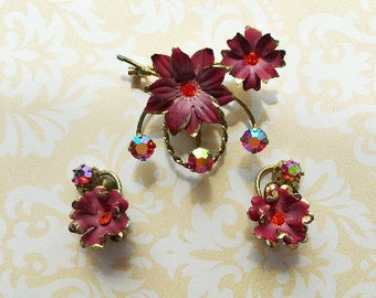 Vintage, Austrian Made, Brooch and Earrings