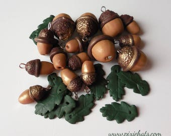 Acorn beads oak tree charms - brown spring green silver gold