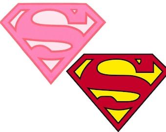 Superman or Supergirl Inspired Halloween Superhero Costume Logo Iron On Transfer