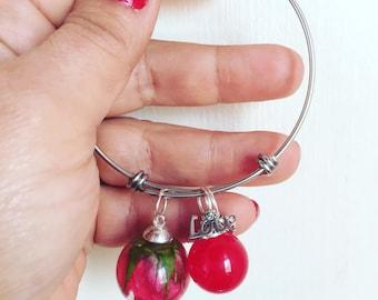 Steel Bracelet charms blossom red rose romantic gift resin