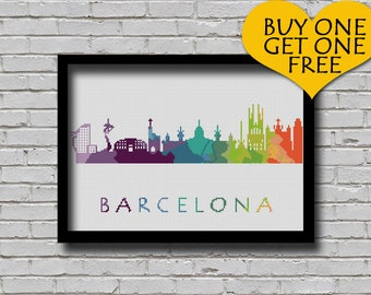 Cross Stitch Pattern Barcelona Spain Silhouette Watercolor Effect Europe Cities Modern Design Embroidery Spain City Skyline Xstitch