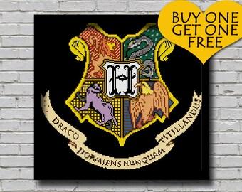 Cross Stitch Pattern Hogwarts Coat of Arms Printable Pattern Harry Potter Childern's Book Crest Xstitch Pattern Wall Art Diy Gift