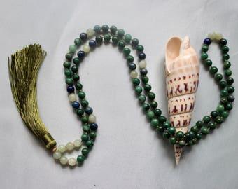 Jade & Lapis Gemstone Mala Necklace