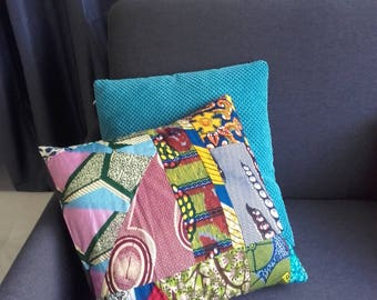 Cotton patchwork cushion real wax