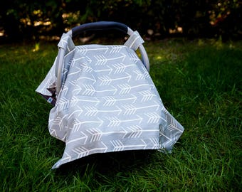 Grey Arrow Car Seat Canopy Cover , Girl Car Seat Canopy, Boy Car Seat Canopy,  Baby Shower Gift, New Mom Gift