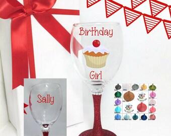 Cupcake wine glass, wine glass for best friend birthday gift, wine glass for friends, wine glass for birthday, wine glasses for sisters,