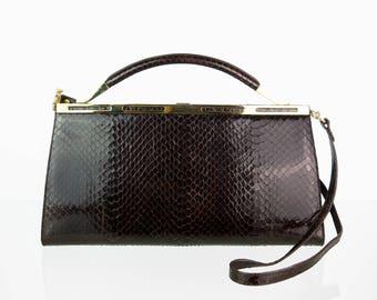 Genuine leather vintage shoulder bag in dark brown