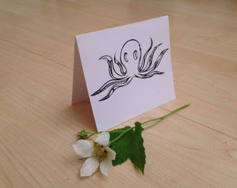 Stylized Octopus Card, Blank Greeting Card, Any Occasion Card, Notecard, Blank Card, Hello Card