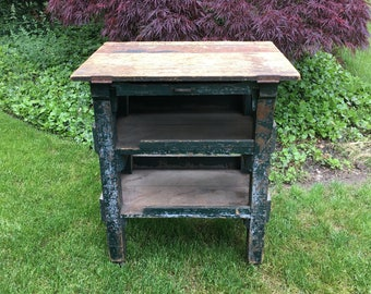 Vintage Industrial Cart - Potting Bench - Kitchen Island - Wine Bar - Repurposed Vintage Industrial Factory Cart - Great Vintage Green Cart
