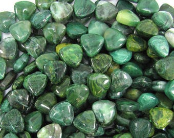 """13mm green african jade triangle beads 15.5"""" strand 32289"""