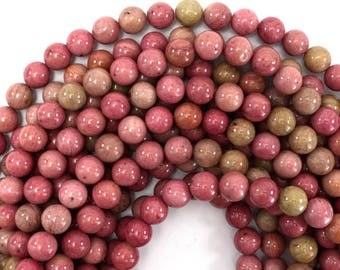 "10mm pink rhodonite round beads 15.5"" strand 39401"