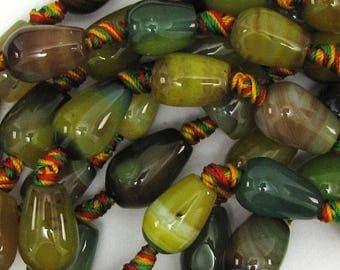"14mm green agate teardrop beads 13.5"" strand 10850"