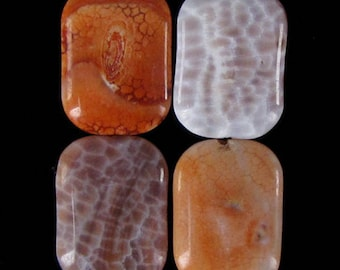 25mm crab fire agate rectangle pendant bead 4 pcs 19251