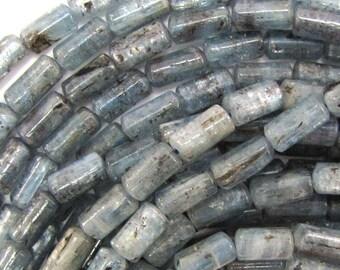 """12mm blue kyanite tube beads 15.5"""" strand 33413"""