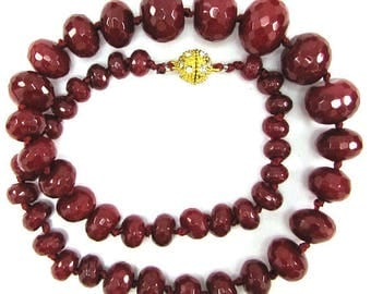 "6-18mm faceted ruby red jade rondelle beads necklace 18"" 32547"