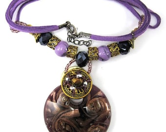 """Brown lampwork glass coin pendant necklace 16"""" 34908"""