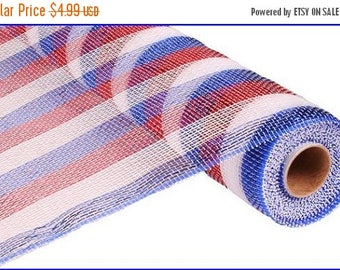 """SALE 21"""" x 10yards - Red White and blue stripe mesh, Patriotic Mesh, Patriotic deco mesh, patriotic mesh roll, red white and blue deco mesh"""