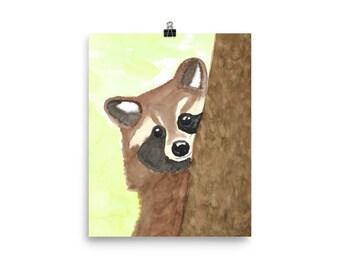 Raccoon Peeking Around Its Tree Watercolor Print