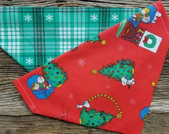 Christmas snoopy dog bandana plaid green snowflakes reversible slide over the collar