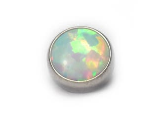 White Cabochon Opal Flat Attachment & Labret Post