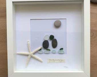 You, Me and The Sea. Handmade to order. Genuine English Sea Glass. New house. Birthday. Anniversary. Memories.