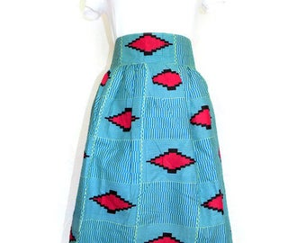 African Print Short Skirt, Ankara Fabric Skirts, Skirt with Pocket, Knee Level Skirt, Ankara Skirt, African Clothing, Blue African Print