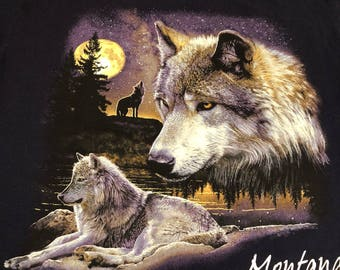 Vintage 90's Wolf Howling at the Moon Montana Men's T Shirt Size Large
