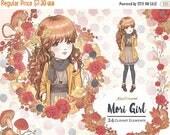 SALE 50% OFF Fall Clipart Mori Girl Clipart Autumn Clipart Fashion Illustration Fall Fashion Hello Autumn Fall Forest Mushroom Planner Stick