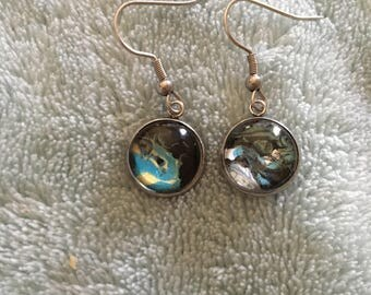 Painted Glass Earrings