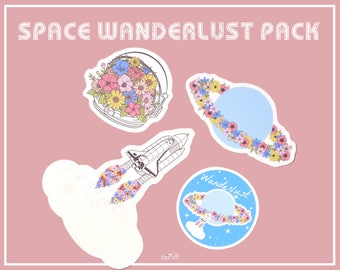Wanderlust Space sticker Pack, Cute Stickers, Cosmonaut Stickers, Tumblr Stickers, Planner Stickers, Glossy Stickers, jazzelli designs