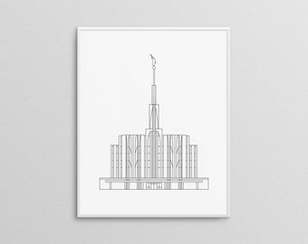 Seattle Washington LDS Temple Print | Minimal LDS Temple | LDS Wedding Gift | Mormon Baptism Gift