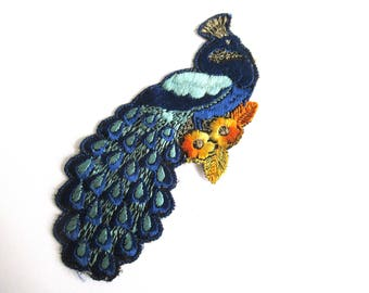 Peacock Applique, 1930s Antique Embroidered Peacock applique, application, patch. Vintage bird sewing supply. #64AGC8K2C