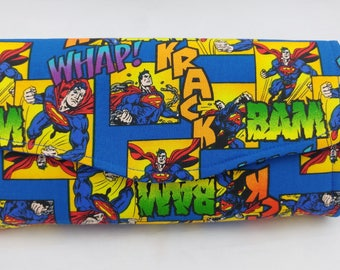 Superman Fabric Necessary Clutch Wallet modern, comic,  pocketbook, gifts for her, coin purse, wristlet clutch, carry all wallet, geek, nerd
