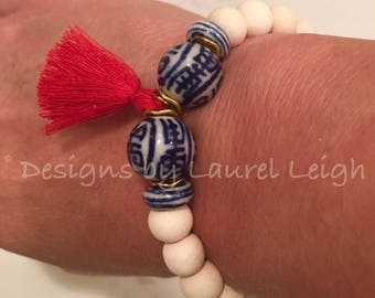 RED, WHITE and BLUE Bracelet | tassel, beaded, chinoiserie, stretchy, gold, navy, red, white