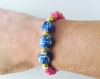 PINK Chinoiserie Beaded Bracelet | gold, bubblegum pink, light pink, stretchy, blue and white, Designs by Laurel Leigh
