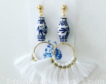 WHITE Chinoiserie Fan Tassel Earrings | blue and white, ginger jar, lightweight, statement earrings, Designs by Laurel Leigh