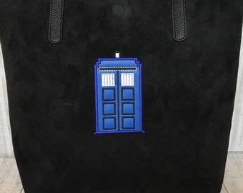 Docto Who tote bag, Tardis Appliqued bag, vegan hand bag, valentine's Day gift, Perfect gift for her